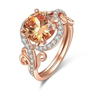 18k Rose Gold Plated Champagne Cubic Zirconia Ring
